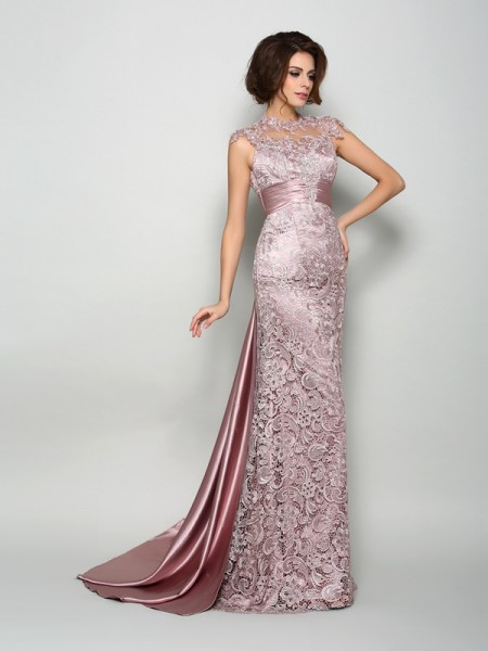 A-Line Elastic Woven Satin High Neck Court Train Mother of the Bride Dress