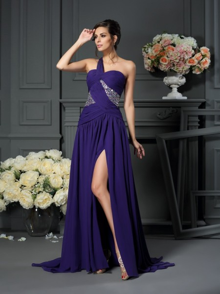A-Line One-Shoulder Chiffon Beading Sweep/Brush Train Evening Gown