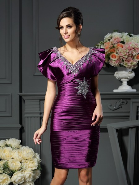 Sheath V-neck Beading Short Elastic Woven Satin Mother of the Bride Dress