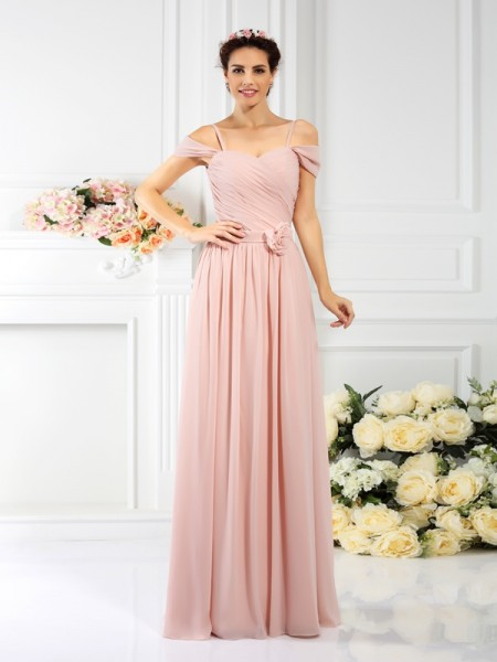 A-Line Spaghetti Straps leats Hand-Made Flower Floor-Length Chiffon Bridesmaid Gown