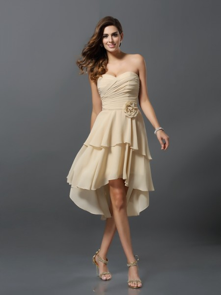 A-Line Sweetheart Chiffon Asymmetrical Hand-Made Flower Bridesmaid Gown