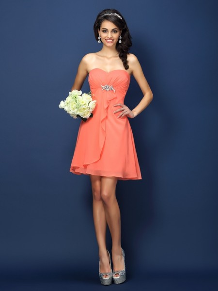 A-Line Beading Sweetheart Short Chiffon Bridesmaid Gown