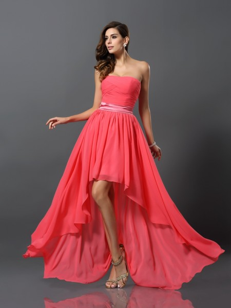 A-Line Sweetheart Chiffon Asymmetrical Bridesmaid Gown