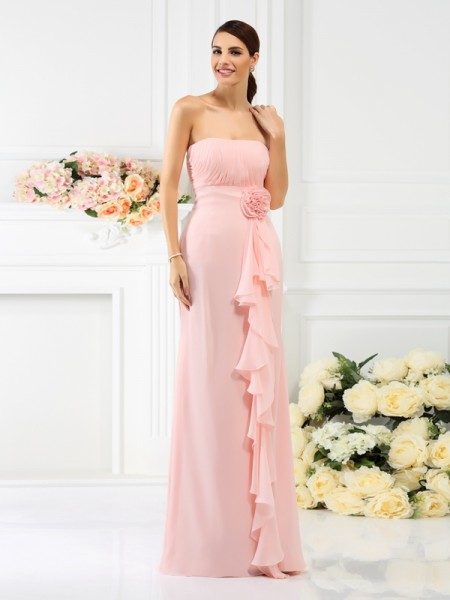 Sheath Strapless Hand-Made Flower Floor-Length Chiffon Bridesmaid Gown