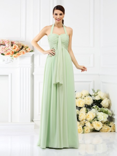 A-Line Halter Pleats Floor-Length Chiffon Bridesmaid Gown