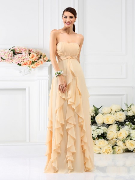 A-Line Strapless Pleats Floor-Length Chiffon Bridesmaid Gown