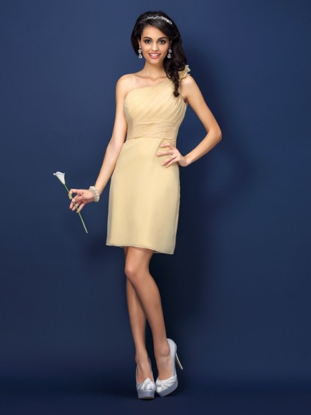 Sheath One-Shoulder Hand-Made Flower Short Chiffon Dresses For Bridesmaid
