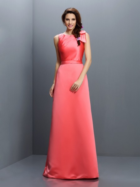 Sheath Bateau Floor-Length Satin Dresses For Bridesmaid