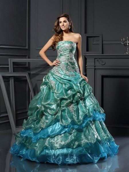 Ball Gown Sweetheart Tulle Applique Floor-Length Party Dresses