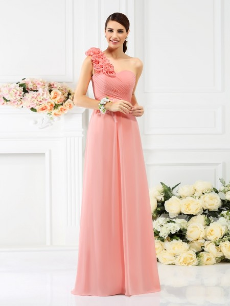 A-Line One-Shoulder Hand-Made Flower Floor-Length Chiffon Dresses For Bridesmaid