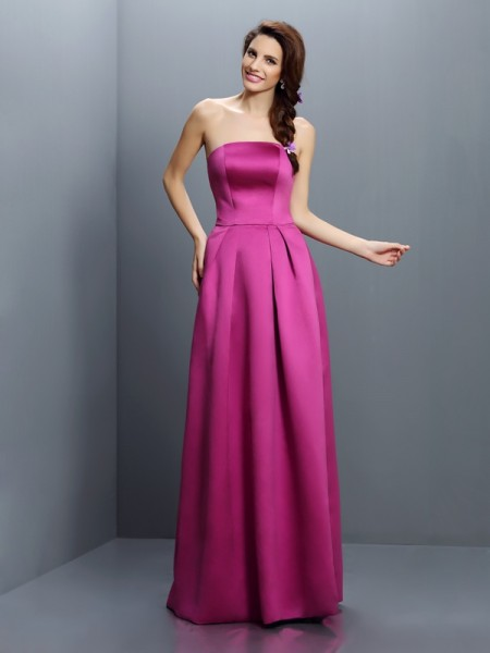 Sheath Strapless Floor-Length Satin Dresses For Bridesmaid