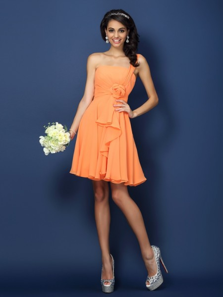 A-Line Strapless One-Shoulder Hand-Made Flower Short Chiffon Dresses For Bridesmaid