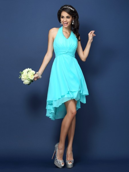 A-Line Halter Pleats Short Chiffon Dresses For Bridesmaid
