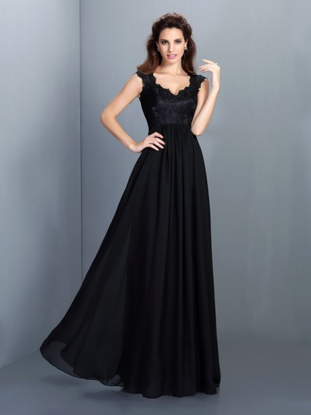 A-Line Scoop Lace Floor-Length Chiffon Lady Dress