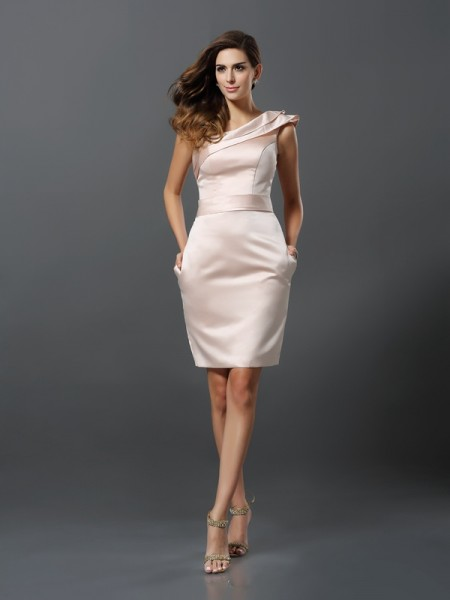 Sheath One-Shoulder Knee-Length Satin Formal Wear