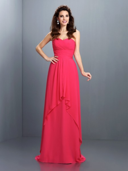 A-Line Sweetheart Pleats Sweep/Brush Train Chiffon Party Dress