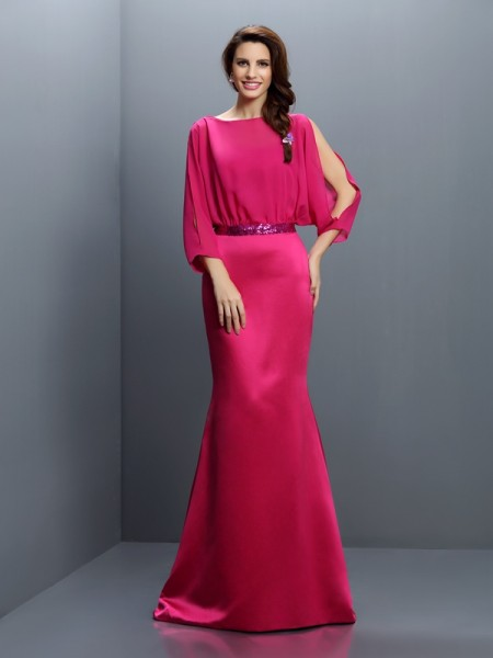 Mermaid Bateau Long Sleeves Sash/Ribbon/Belt Sweep/Brush Train Chiffon Dresses For Bridesmaid