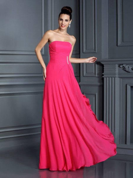 A-Line Strapless Beading Floor-Length Chiffon Party Dress