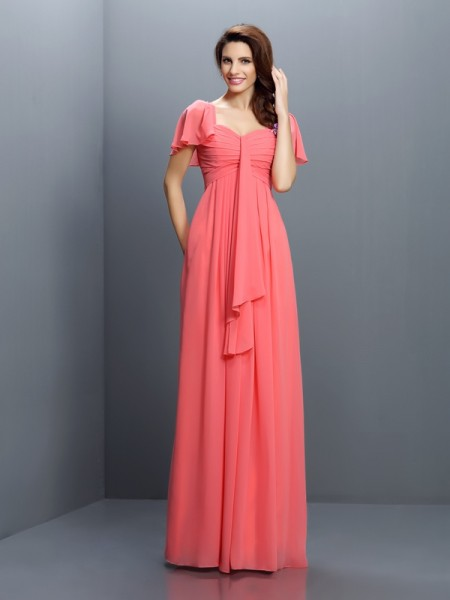 A-Line Sweetheart 1/2 Sleeves Pleats Floor-Length Chiffon Dresses For Bridesmaid