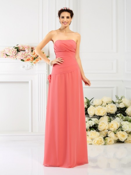 Sheath Strapless Hand-Made Flower Floor-Length Chiffon Dresses For Bridesmaid