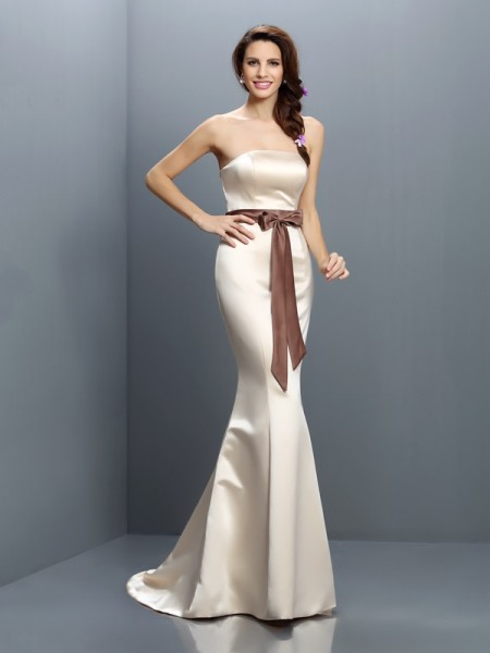 Mermaid Strapless Sash/Ribbon/Belt Sweep/Brush Train Satin Dresses For Bridesmaid