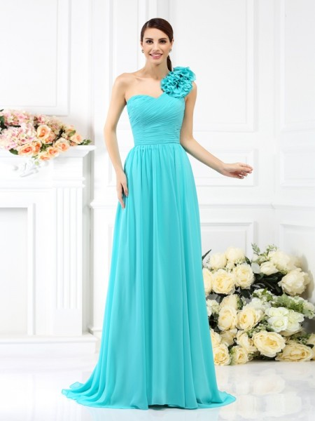 A-Line One-Shoulder Pleats Hand-Made Flower Sweep/Brush Train Chiffon Dresses For Bridesmaid