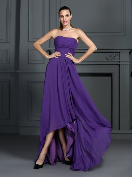 A-Line Strapless Pleats Asymmetrical Chiffon Prom Dress