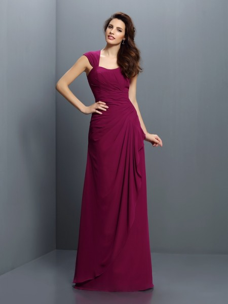 A-Line Straps Pleats Floor-Length Chiffon Dresses For Bridesmaid