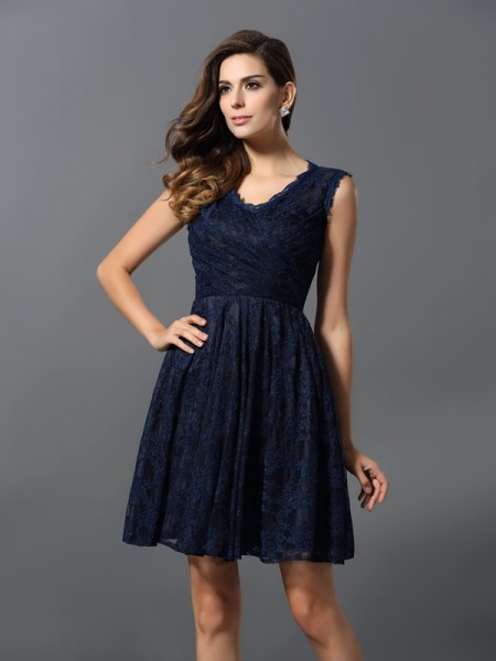 A-Line V-neck Lace Satin Mini Gowns For Bridesmaid