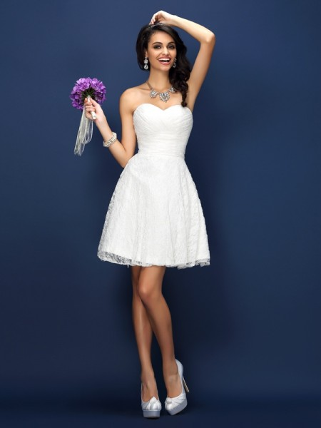 A-Line Sweetheart Pleats Lace Short Satin Dresses For Bridesmaid