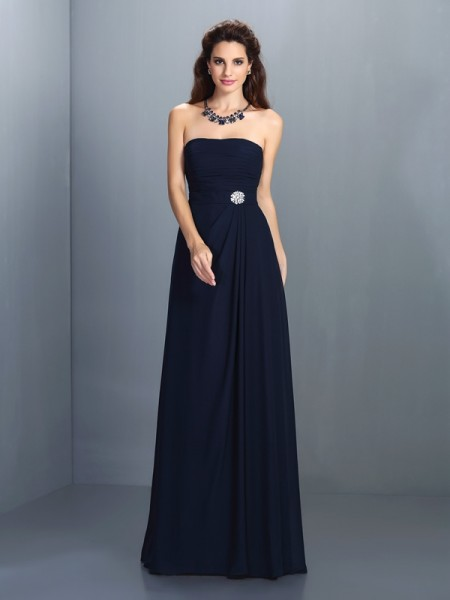 A-Line Strapless Rhinestone Floor-Length Chiffon Party Dress