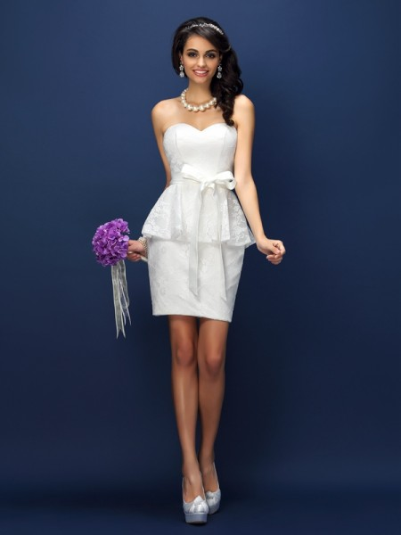 Sheath Sweetheart Lace Bowknot Short Satin Dresses For Bridesmaid