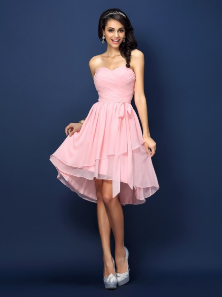 A-Line Sweetheart Pleats Bowknot Short Chiffon Dresses For Bridesmaid