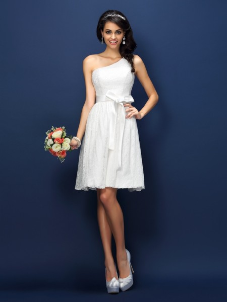 A-Line One-Shoulder Lace Bowknot Short Lace Dresses For Bridesmaid