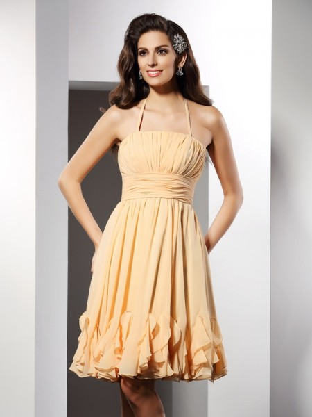 A-Line Halter Ruffles Knee-Length Chiffon Prom Dress