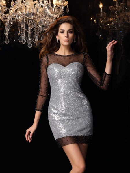 Sheath Scoop Sequins 3/4 Sleeves Beading Mini Gown