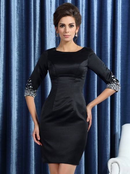 Sheath Square 1/2 Sleeves Satin Short Beading Mother of the Bride Dress