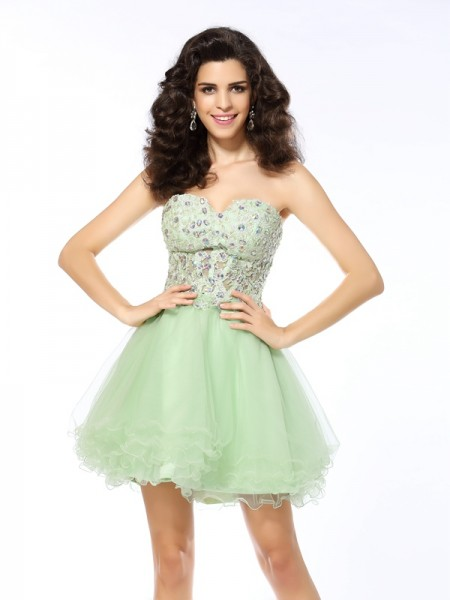 Sweetheart A-Line Short Ruffles Satin Formal Wear