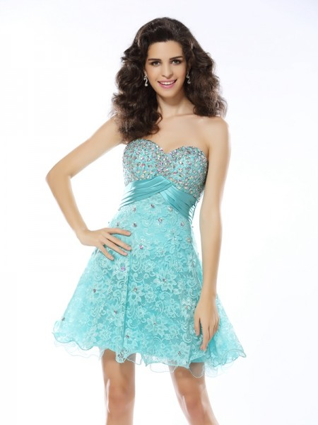 A-Line Sweetheart Satin Short Ruffles Dresses