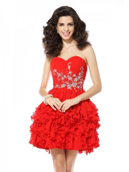 A-Line Beading Sweetheart Short Chiffon Prom Dress