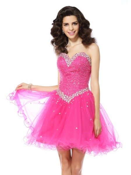 A-Line Beading Sweetheart Short Satin Formal Wear