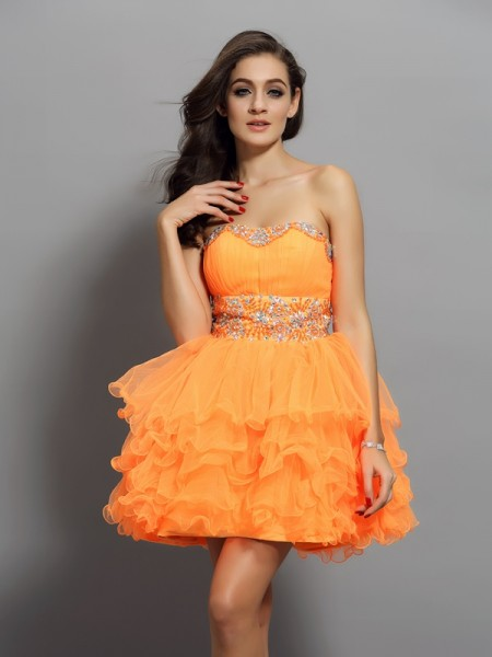 A-Line Satin Sweetheart Ruffles Mini Gown