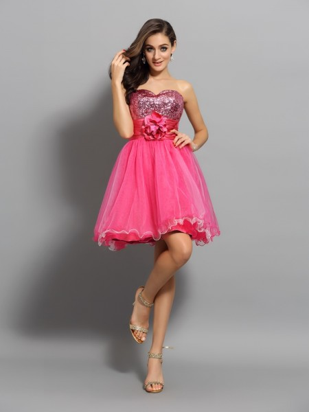 A-Line Net Sweetheart Ruffles Mini Gown