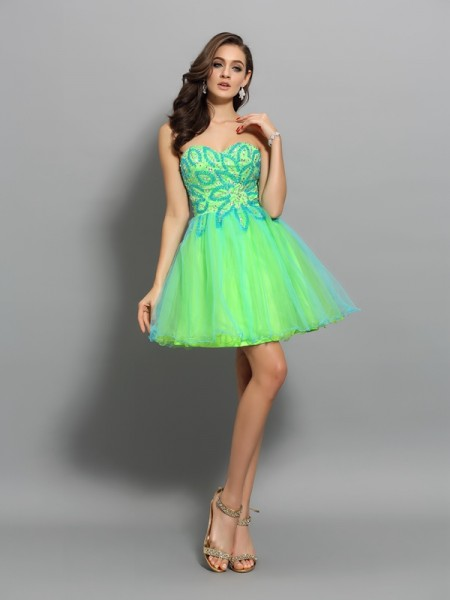 A-Line Net Beading Sweetheart Mini Gown
