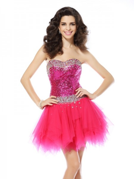 A-Line Beading Sweetheart Short Net Dresses