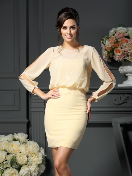 Sheath Long Sleeves Scoop Short Chiffon Mother of the Bride Dress