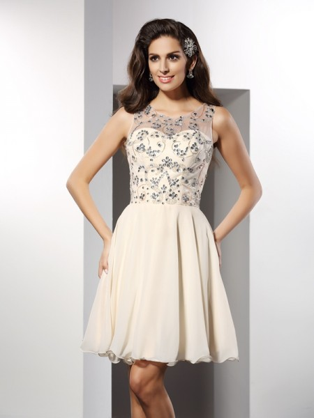 A-Line Bateau Beading Short Chiffon Prom Dress