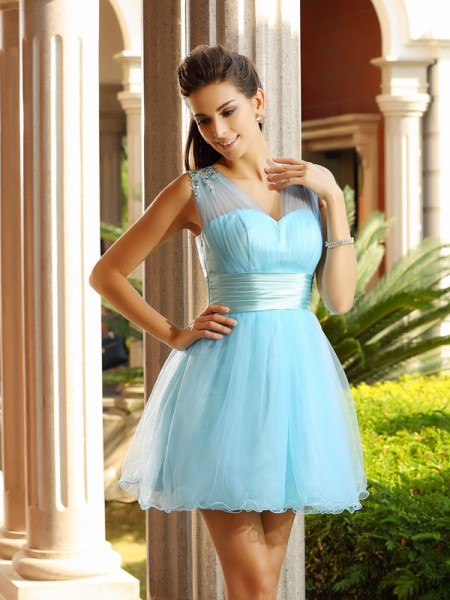 A-Line V-neck Net Pleats Beading Mini Attractive Gown
