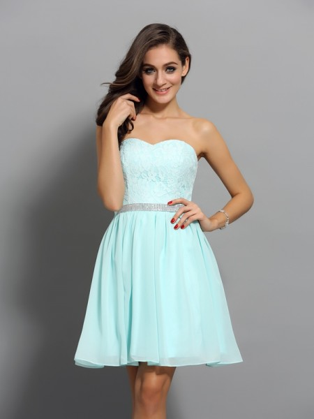 Sweetheart A-Line Short Chiffon Beading Party Dress
