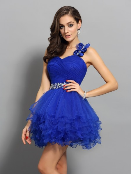 A-Line One-Shoulder Organza Short Beading Party Dress